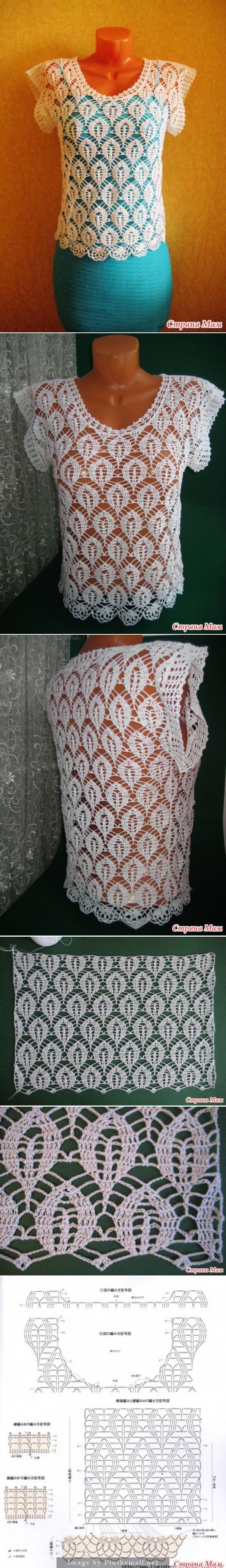Crochet pullover/top. http://www.stranamam.ru/post/7288777/ - created via http://pinthemall.net
