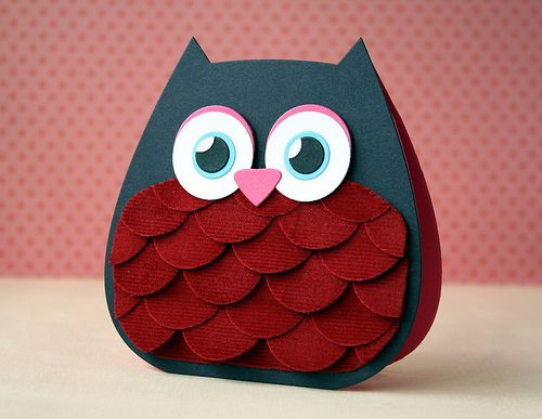 Circles for owl's breast, cute shape for card