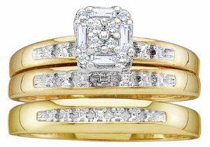 Men's Ladies 10K Yellow Gold .1CT Round Baguette Cut Diamond Wedding Engagement Bridal Trio Ring Set (ladies size 7, men size 10)  http://electmejewellery.com/jewelry/wedding-anniversary/engagement-rings/men39s-ladies-10k-yellow-gold-1ct-round-baguette-cut-diamond-wedding-engagement-bridal-trio-ring-set-ladies-size-7-men-size-10-com/
