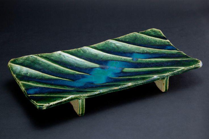 織部刻文俎板皿 Chopping board plate with engraved, Oribe type 2012