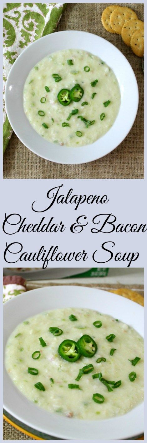 Jalapeno Cheddar & Bacon Cauliflower Soup - Thick, creamy soup made with cauliflower with hints of bacon and a little kick of heat.  #greengiantswapins #AD @greengiant