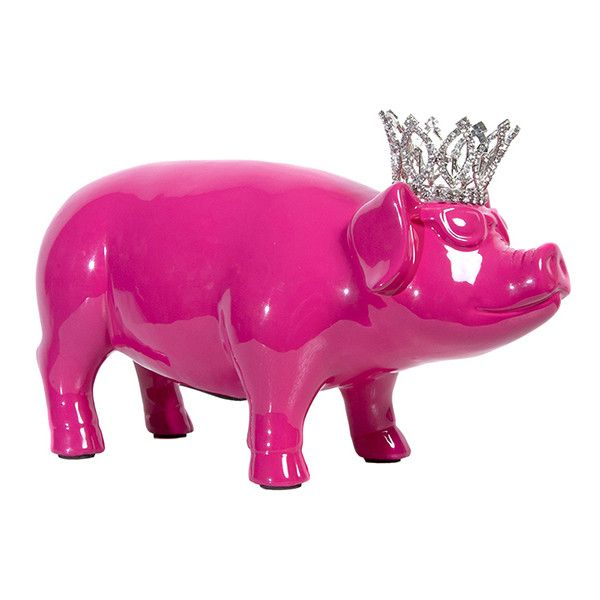 Interior Illusions Plus Pink Piggy Bank With Crystal Tiara ($56) ❤ liked on Polyvore featuring home, home decor, small item storage, pink piggy bank, crystal home decor, princess piggy bank, pink home decor and coin box