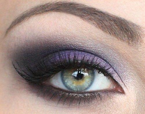 Beautiful purple grey smokey eyes make up.