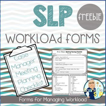 FREE Are you are case manager for IEPs and evaluations? Check out this SLP Workload Forms FREEBIE Case Manager Meeting Planning Checklist. This is a one page meeting planning checklist provided as I currently use the form. Since states/districts vary greatly, there is a blank template for you to add your own checklist items, using my sample as a guide.