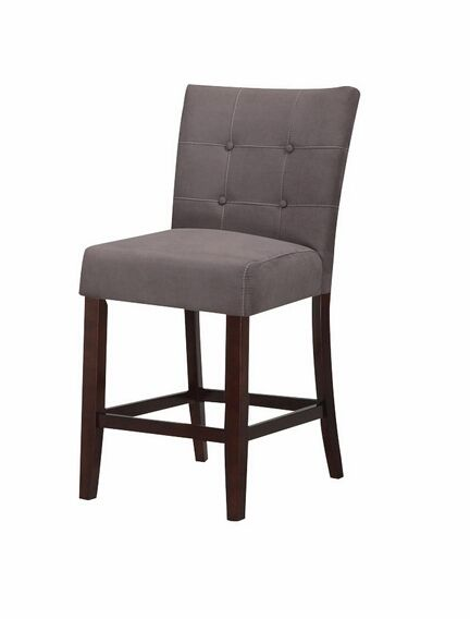 acme set of 2 baldwin gray counter height parson style counter height stools with fabric upholstered seats and button tufted back