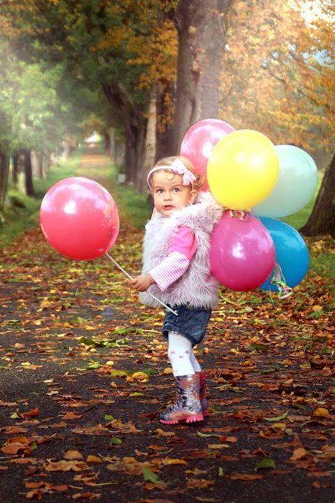 little girl, photo, natur, ballons, Bday