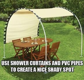Shade: adjustable canopy, DIY with shower curtain rings, grommets, canvas, PVC sprinkler pipes set over stakes