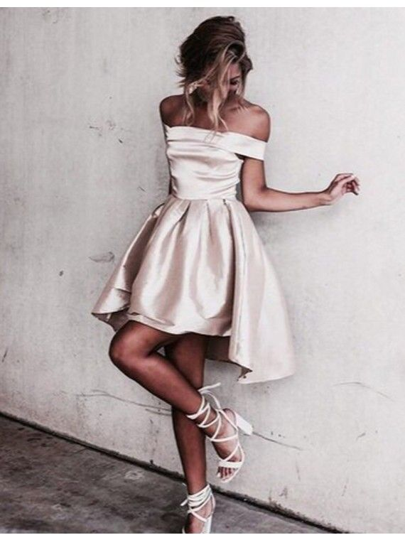 Simple Homecoming Dresses Off the Shoulder Mini Short Graduation Dress Prom Dress Vestidos