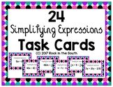 Simplifying Expressions 24 Task Cards 7th Grade Math