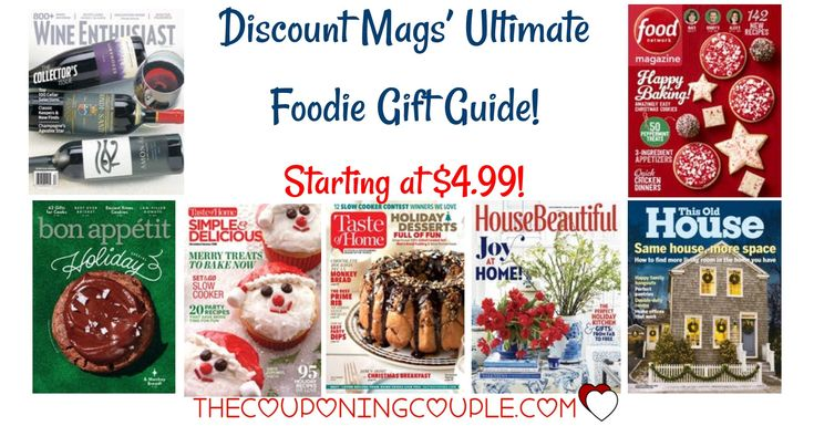 GREAT GIFT IDEA for the Foodie you love! Maybe that is YOU! Discount Mags' Ultimate Foodie Gift Guide is here! Find magazines starting at only $4.99! I have grabbed a few for teacher gifts!  Click the link below to get all of the details ► http://www.thecouponingcouple.com/discount-mags-ultimate-foodie-gift-guide-starting-at-4-99/ #Coupons #Couponing #CouponCommunity  Visit us at http://www.thecouponingcouple.com for more great posts!
