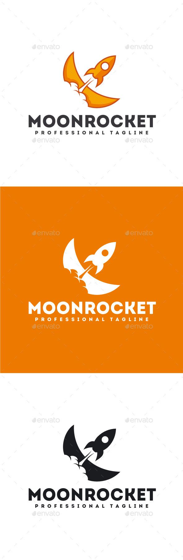 Moon Rocket Logo by yopie Logo Template : 100% Vector 100% Customizable High Quality Editable Text Font Name and Link for download are provided in Readme fi