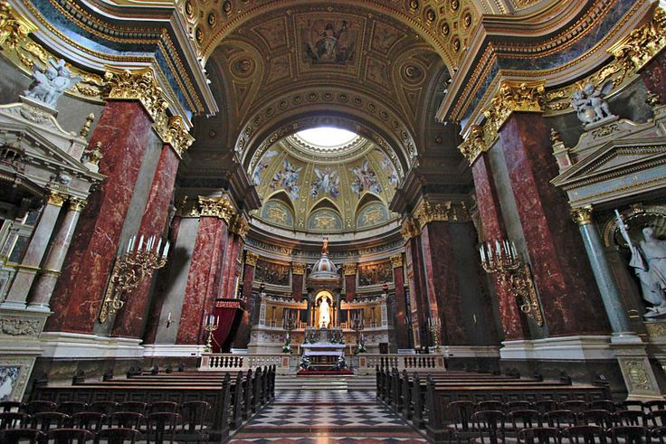 Interior of Saint Stephen's Basilica in Budapest, Hungary, named after the country's first king