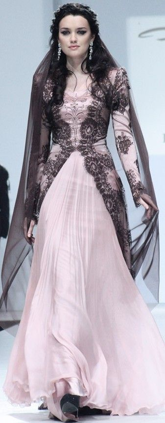 Wedding gown for Fat Walda (Frey) Bolton, in bolton pinks and blacks♥✤ | Keep the Glamour | BeStayBeautiful #PerfectMuslimWedding.com