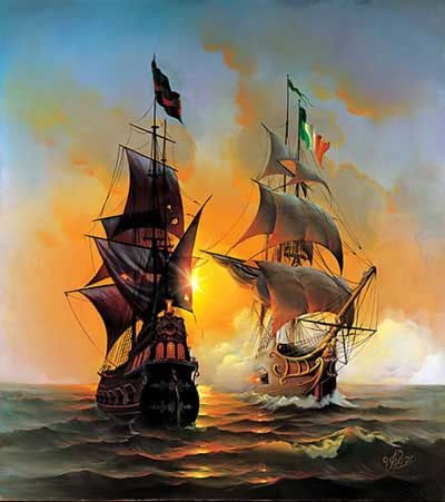 Sea fight between a warship of the Kingdom of Sardinia and a pirate vessel!                                                                                                                                                      More