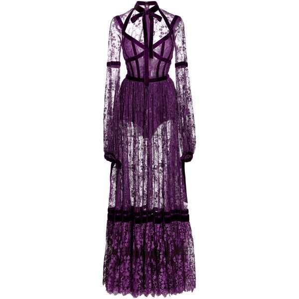 Elie Saab Lace Long Sleeve Dress (215 015 UAH) via Polyvore featuring dresses, purple, purple necktie, neck ties, long sleeve ruched dress, shirred lace dress и tie neck dress