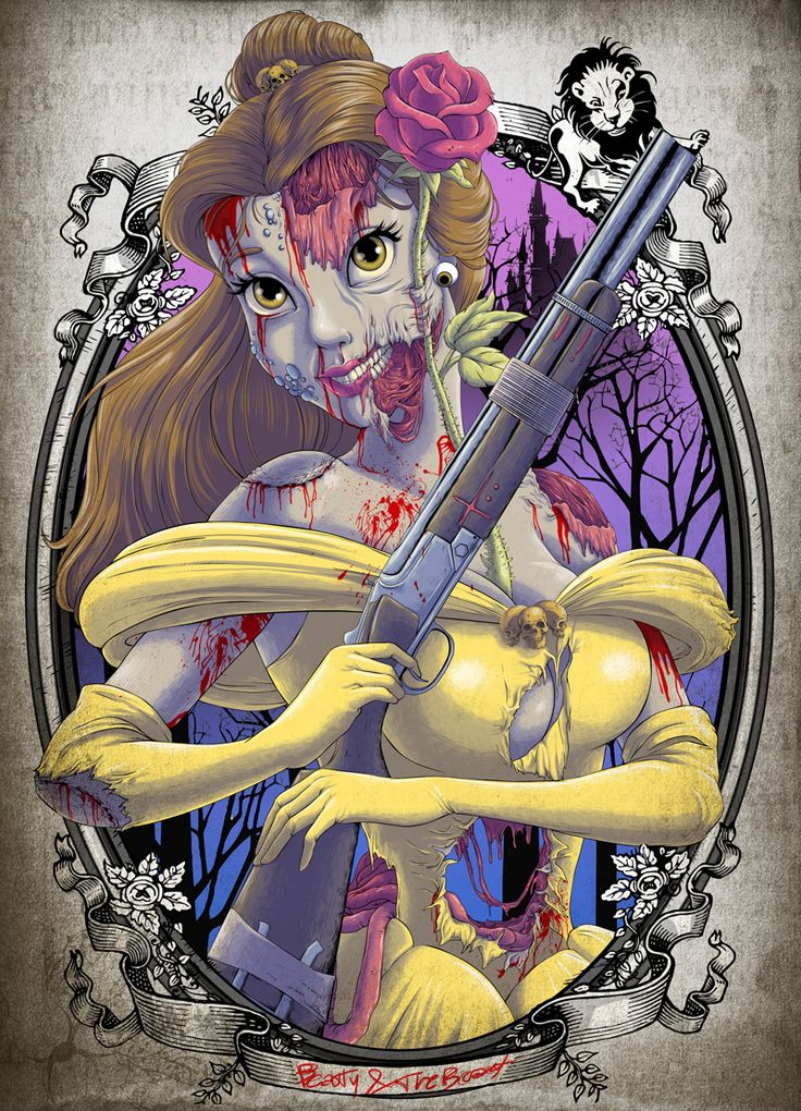 Zombified Disney Princesses - Disney princesses are constantly being used as the subject of genre crossover art, but I've never seen those fairy tale gals looking so gruesome! Created by Witit Karpkraikaew, this series leaves the beauty behind and focuses on the truly ghastly nature of the undead.