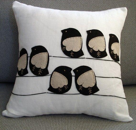 Sukan / Black Birds Pillow Cover  14x14 by sukanart on Etsy, $55.50