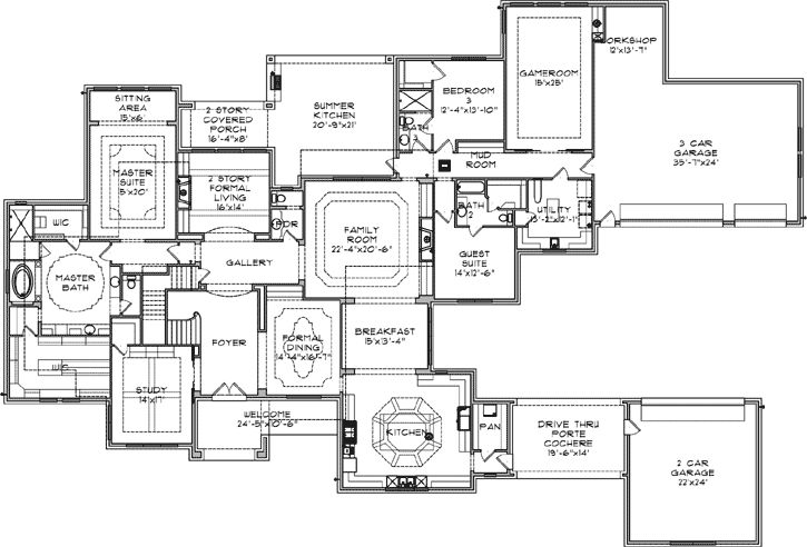 French country style house plans 6525 square foot home for Bedroom 70 square feet