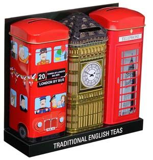 "Give them as a set, tuck them separately in Christmas stockings or save them for yourself! Each tin reminds you of happy times in London: A Routemaster Double-decker Bus brimming with passengers from Sherlock Holmes to the Queen and a corgi... a red callbox reflecting the London Eye and Westminster Cathedral... and Big Ben, towering grandly! Each tin holds 14 bags of pure Ceylon teas in a traditional, hearty English blend, and stands 6 3/4""h x 2""square, with a slit in the top for conversion…"