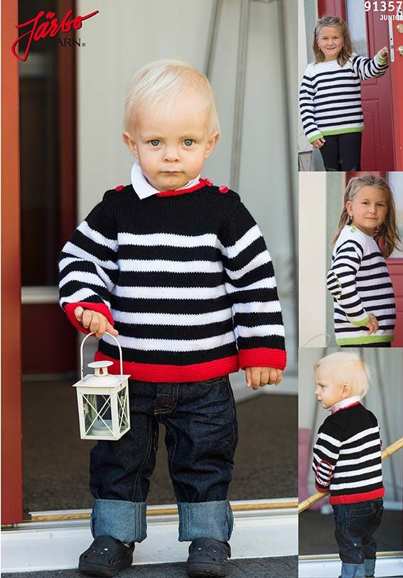 Knitted baby sweaters with stripes.