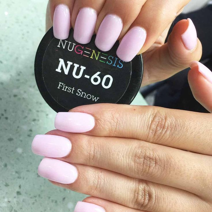 This warm white pinkish hue of nail dipping powder is beautiful all year round. Nugenesis nails - First Snow