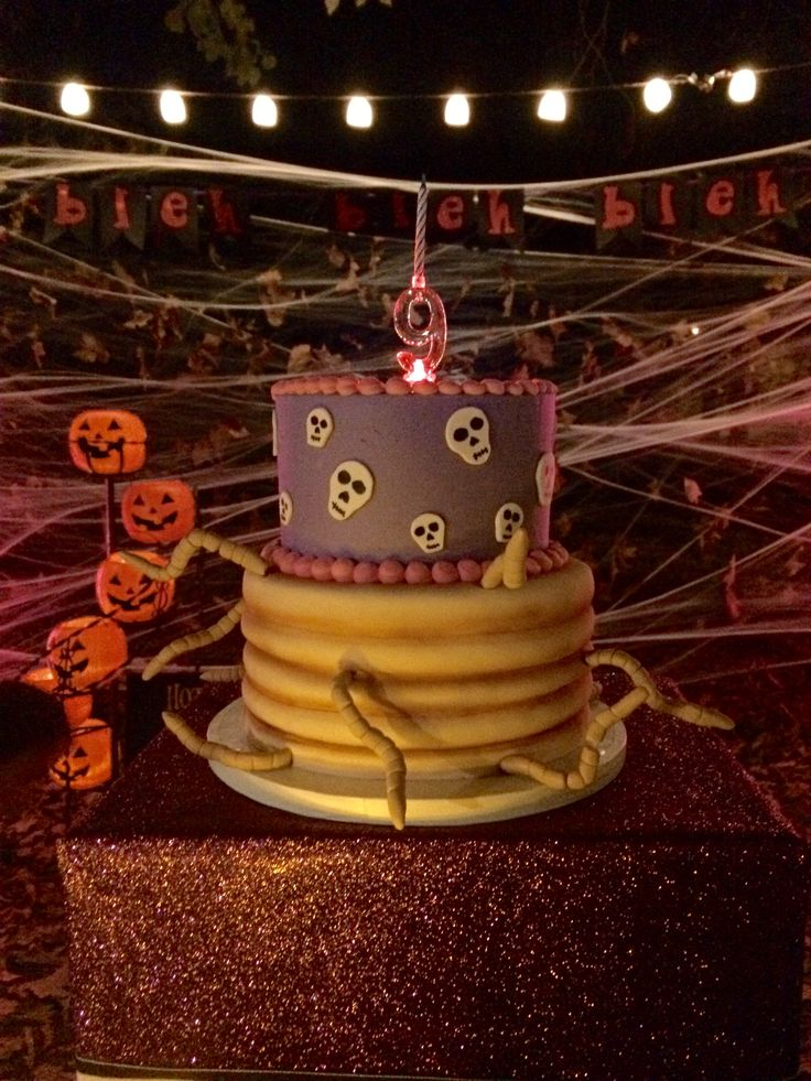 Hotel Transylvania birthday cake! We chose both cakes featured in HT & HT2 (also Bleh Bleh Bleh banner )