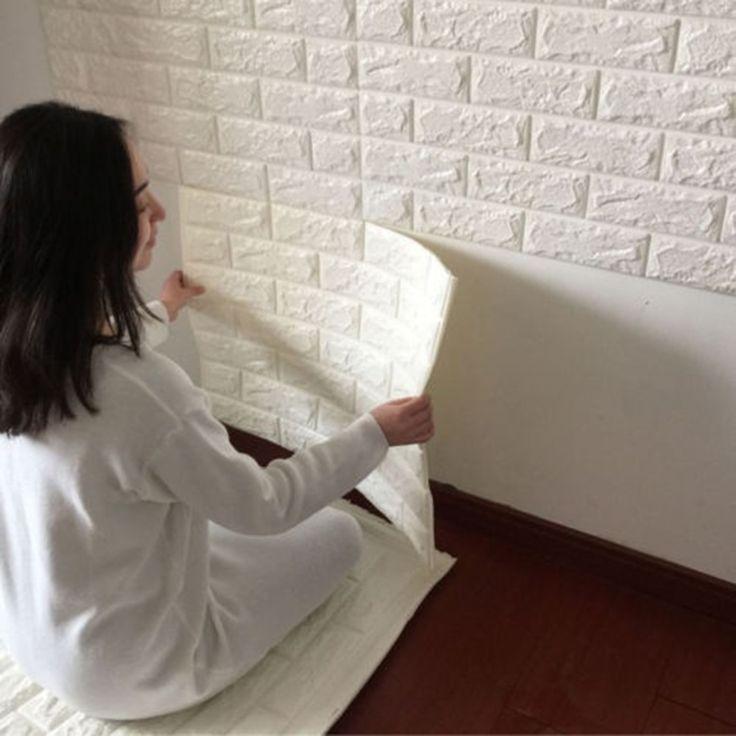 Barato 2016 NEW White 3D Design Moderno Tijolo Vinil Rolo Papel de parede…