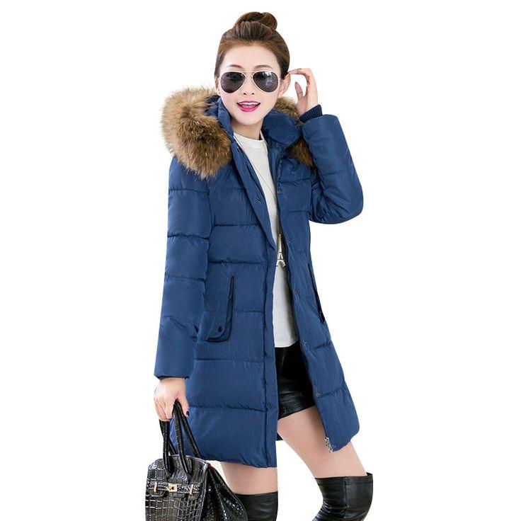 36.48$  Know more  - Echoine New Women Winter Fur Collar Hooded Coat Ladies Parka Coats Front Zipper Thicken Jacket 4 Colors Plus Size