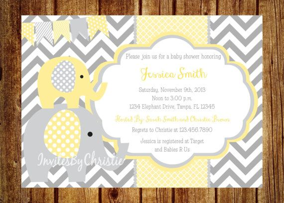 yellow and gray elephant baby shower invitation digital file diy