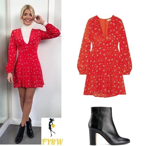 Holly Willoughby outfit red floral dress white polo neck black boots This Morning January 2018
