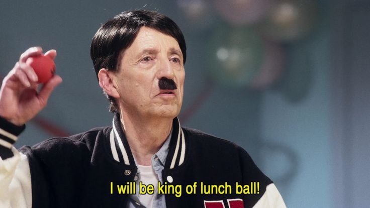 "Hitler (played by Carmine Russo) will be king of lunch ball!  Screencap from SBS's Danger 5 Season 2 Episode 2 ""Johnny Hitler"""