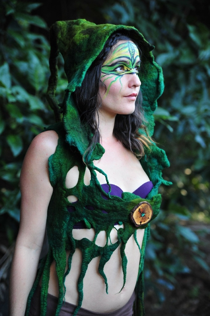 Felt Melted Tree Roots Woodland Nymph Warrior Princess Of The Rainforest Vest With Pixie Hood OOAK