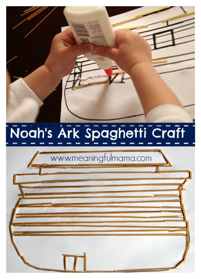 Noah's Ark Craft with Spaghetti - Meaningful Mama