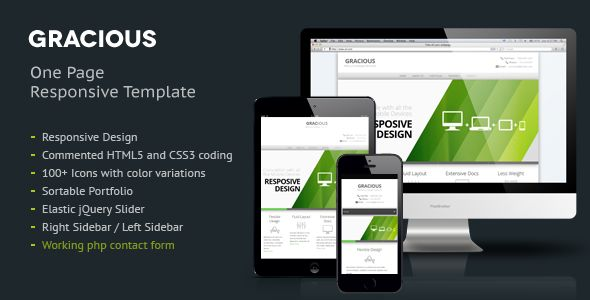 Gracious - Ajaxified HTML Template   http://themeforest.net/item/gracious-ajaxified-html-template/2929296?ref=damiamio             Gracious is clean and professional template suitable for business / portfolio websites etc. Its created using the latest technologies like HTML5 and CSS3.  Template Features Elastic jQuery Slider Commented HTML5 and CSS3 coding 100+ Icons with color variations Sortable Portfolio  Right Sidebar / Left Sidebar  Shortcodes for columns, fancy boxes, icons etc Pages…