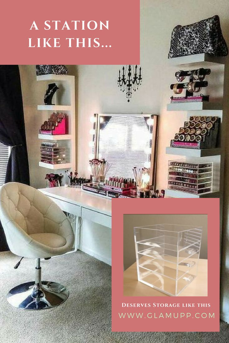 A makeup station like this... deserve a large acrylic makeup organizer like  you