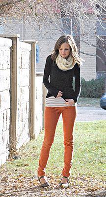 // So cuteAutumn Clothing, Colors Pants, Merrick Art, Fall Style, Colors Jeans, Orange Pants, Fall Clothing Orange, Fall Outfit, Cute Outfit
