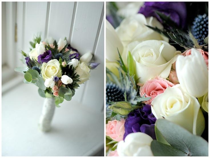 Ivory Rose, Thistle, White tulip,pink spray roses, purple lizianthis wedding bouquet