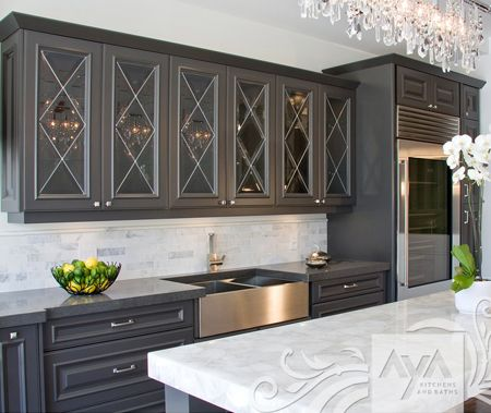 Bold white counter back splash grey cabinets cabinets for Aya kitchen cabinets