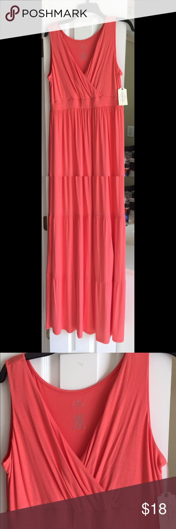 Cotton maxi dress Coral Cotton maxi dress, faux wrap top Dresses Maxi