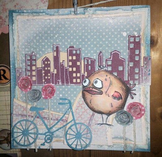 Crazy bird, memorybox box, handmade flowers