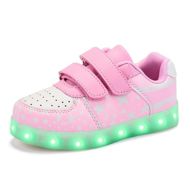 Green Hope-Rise Field LED Light Up Sneakers for Boys Girls Casual Shoes GHRF-FS-DQ519-2-Pink-28. Rubber sole, anti-skidding. Velcro design, convenient for children to wear. Good gifts for Birthday, Halloween, Christmas, New Year, suitable for daily use, performance, dancing, cosplay. Led flashing could present 14 modes: 7 steady colors(red, green, blue, yellow, cyan, purple, white) and 7 kinds of dynamic color, press one to change one mode, long press(about 17 seconds) to turn off the…
