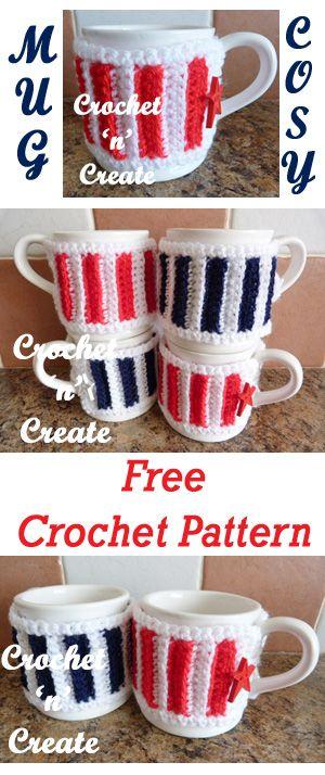 Great gift idea, buttoned mug cozy, free crochet pattern. #crochet