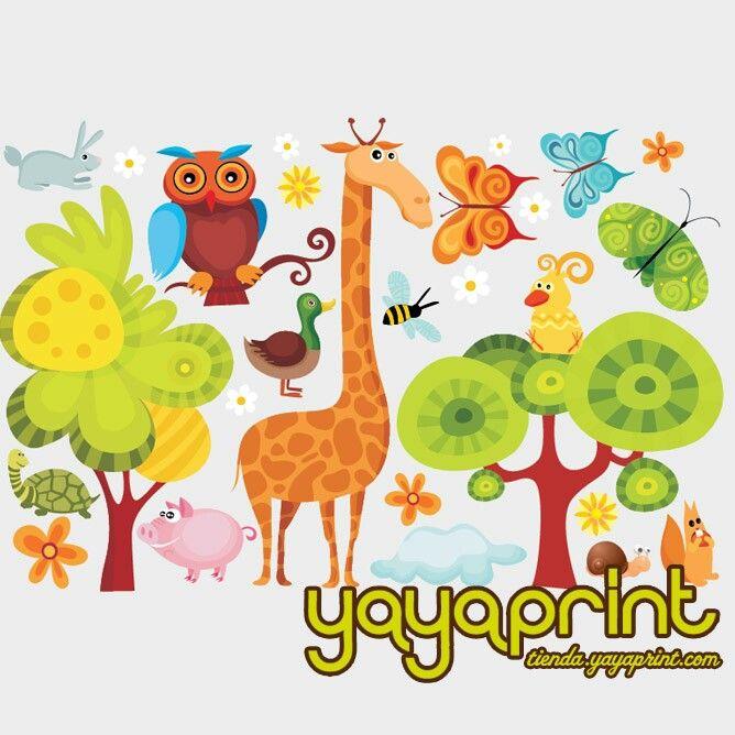 vinilo jirafa arboles y muchos animales vinilos