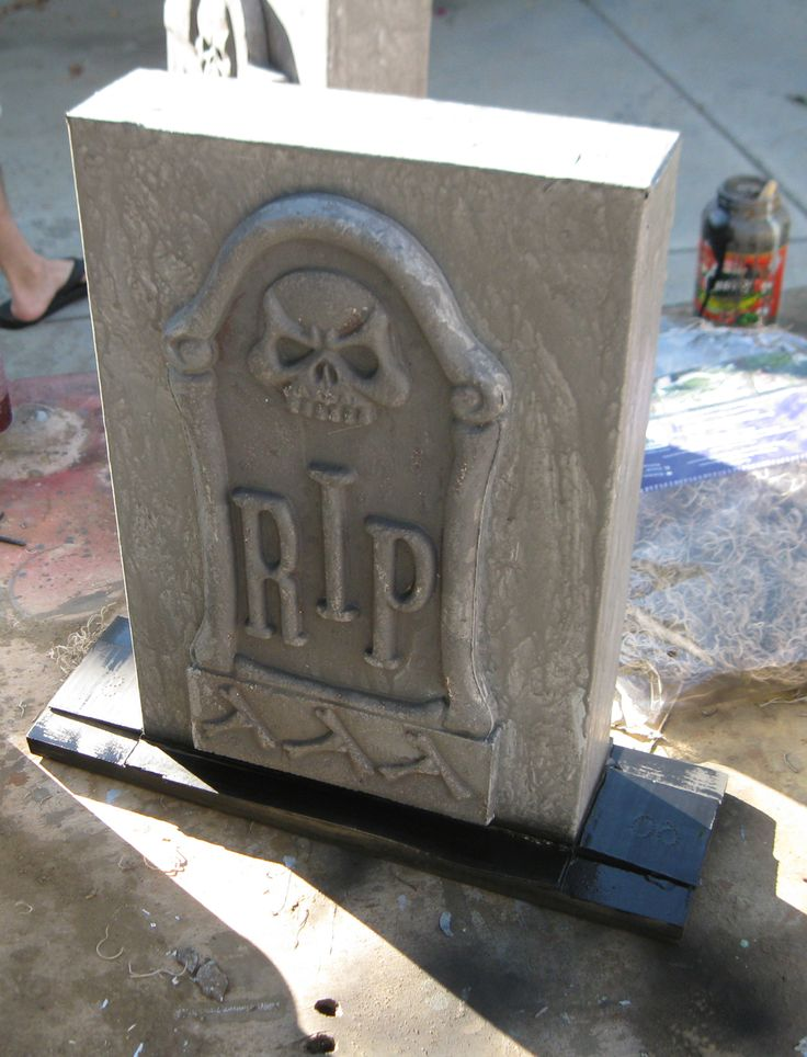 Cheap tombstones glued to a carboard box and painted gray...attach to a board or give them spikes.   Quick and easy tombstones when time is a factor! DAVE LOWE DESIGN the Blog