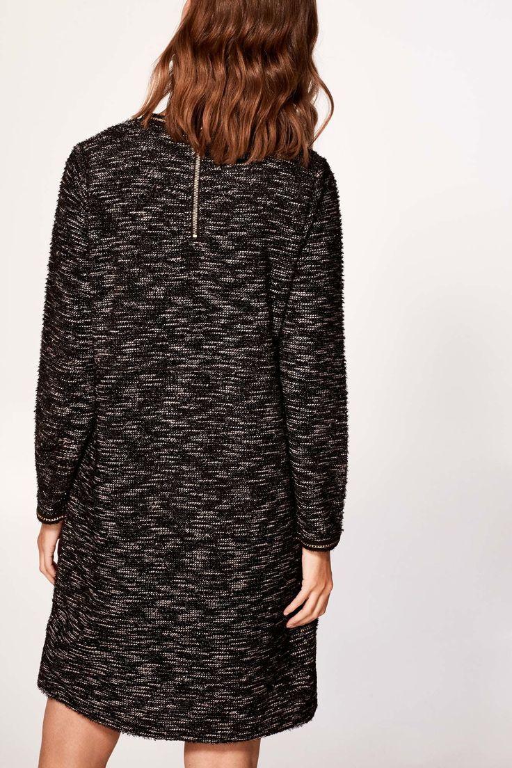 Cortefiel Vestido jacquard brillo Negro