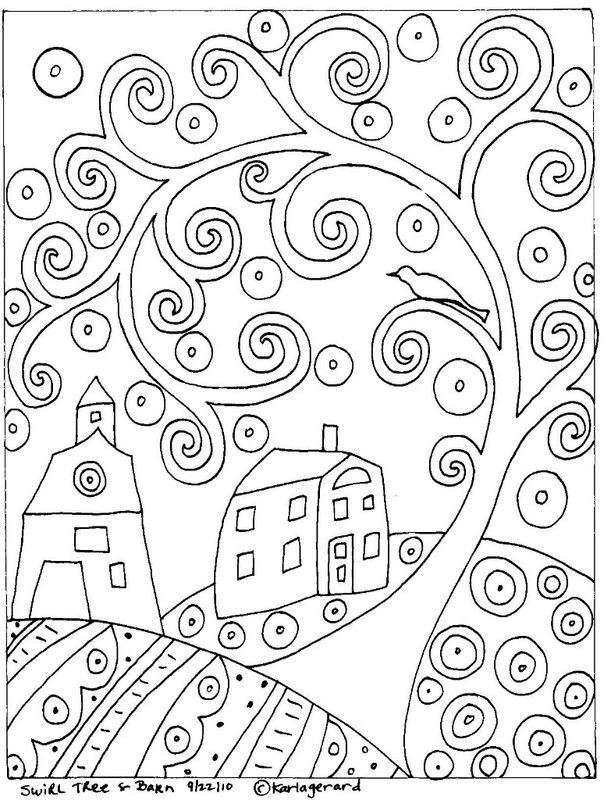 Abstract Tree Coloring Pages : Rug hook paper pattern swirl tree house barn folk art