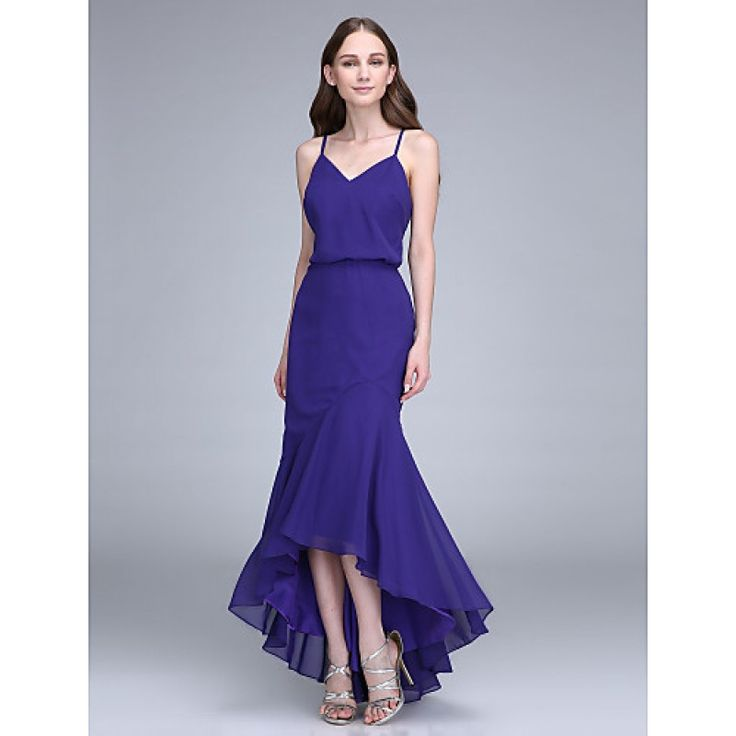 2017 Asymmetrical Chiffon Bridesmaid Dress Trumpet Mermaid Spaghetti Straps with #bridesmaiddresses #purpledresses #bridalfeel