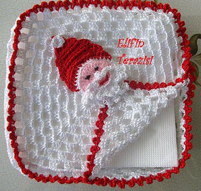 CHRISTMAS BABA'LI Napkin - Turkish: Crochet Holidays, Idea, Christmas Crochet Deco Crafts, Crochet Christmas, Baba Li Napkins, Crochet Napkins Holders, Christmas Napkins, Christmas Crochet Crafts Deco, Christmas Baba Li