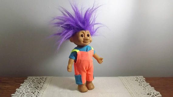 Vintage Troll Doll with Brown Eyes and Perky Purple Hair