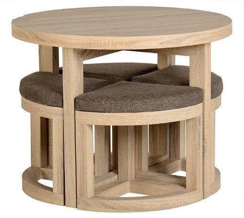 Round Dining Table & 4 Chairs Set Sonoma Oak Breakfast Space Saving Furniture  #SmartDealsMarket #spacesaving